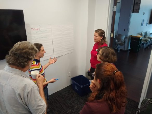 Five faculty are standing next to large post-it panels attached to a wall, listening to a participant, and recording their thinking.