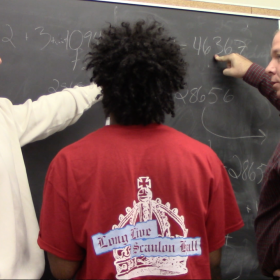 Group discussing Fibonacci Numbers with Julian Fleron
